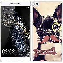 Funda carcasa para Huawei P8 Lite diseño dibujo perro con bigote y monóculo Mr Frenchie bulldog francés borde blanco