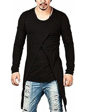 Los hombres de manga larga Camiseta con cuello redondo larga calle larga cola asimétrica t-shirt