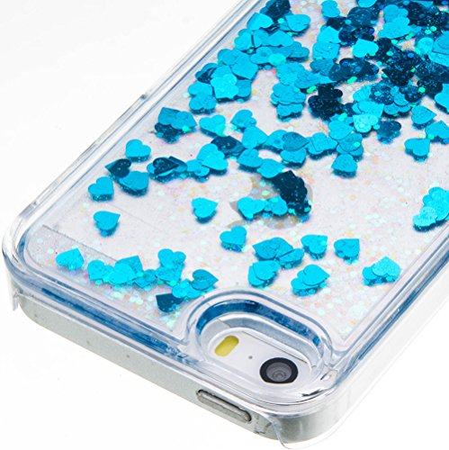 Nnopbeclik [Coque Iphone 5 5S SE Silicone Transparente] Paillettes Briller Style Backcover Rigide Housse pour Iphone 5 Coque Silicone / Iphone 5S Coque Silicone / Iphone SE Coque Silicone (4.0 Pouce)  bleu