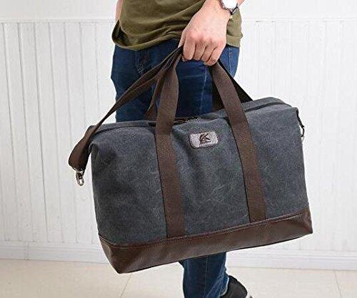 Grande capacità borsa per gli uomini Tela borsa a tracolla Modalità Travel Bag Corpo Croce Borsa-Grigio Nero