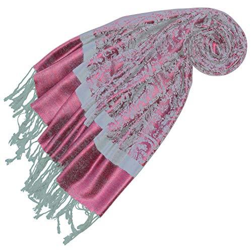 LORENZO CANA Pashmina Damen Schal Schaltuch jacquardgewebt Paisley Muster 70 cm x 180 cm Tuch Naturfaser Rosa Hellblau 93327