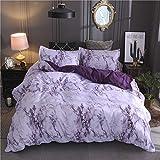 Bonner Bettwäsche Stein Muster Einfache Einfache Bettbezug Bettbezug Kissenbezug Bettwäsche-Sets,Purple,King