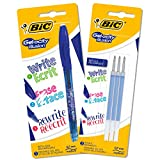 BIC Gel-ocity Illusion Penna Gel Cancellabile Punta Media (0,7 mm) - Blu, Pacco Da 1 Penna + 3 Ricariche