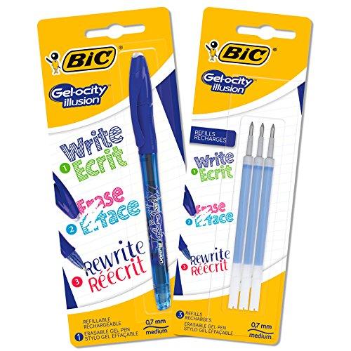 BIC 962706 Druck-Gel-Roller Gel-ocity Illusion, Set mit 1 Stift mit 3 Ersatzminen blau -