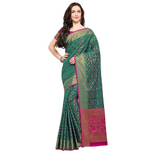 Janasya Women's Multi Silk Patola Saree With Unstitched Blouse (SR032-10543-MULTI)