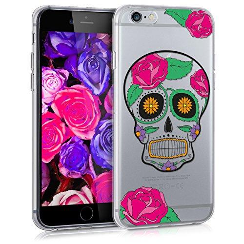 kwmobile Hülle für Apple iPhone 6 / 6S - TPU Silikon Backcover Case Handy Schutzhülle - Cover Marmor Design Schwarz Weiß Sugar Skull Totenkopf Transparent