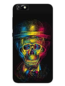 Gothic Drunk Skull - Hard Back Case Cover for Huawei Honar 4x - Superior Matte Finish - HD Printed Cases and Covers