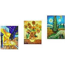 Fokenzary Óleo sobre lienzo pintado a mano, cuadros de Vincent van Gogh, enmarcado y listo para colgar, decoración de pared, combinación de 3paneles, lona, 12x16inx3pcs