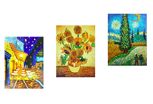 Kunstwerke Gerahmte Gogh Van (fokenzary handbemalt Ölgemälde auf Leinwand Vincent van Gogh klassischen berühmten Kunstwerke 3Platten Kombination Wanddekoration gerahmt fertig zum Aufhängen, canvas, 12x16inx3pcs)