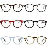 VEVESMUNDO® Lesebrillen Damen Herren Federscharniere Retro Runde Lesehilfe Sehhilfe Arbeitsplatzbrille Nerdbrille Hornbrille mit Stärke Schwarz Leopard Blau Rot Brau