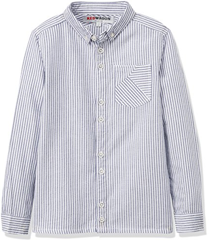 RED WAGON Jungen Hemd L/s Stripe Shirt, Weiß (Multi), 134 (Herstellergröße: 9 Jahre) (Baumwolle-button-down-shirt Gestreifte)