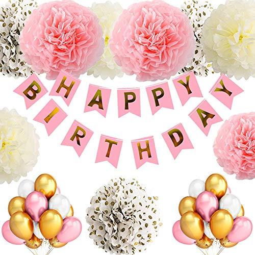 (TopDeko Geburtstagsdeko Mädchen und Jungen, Geburtstag Dekoration Mädchen und Jungen mit 30pcs Große Geperlte Ballons, 9Pcs Seidenpapier Pompoms, 1 Set Happy Birthday Banner (Rosa))