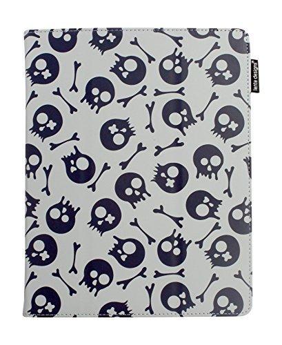 Lente Designs® Custodia protettiva per Apple iPad 2, 3 o 4 / fodera / leggio in un esclusivo design Grigio Skull & Bones Blue