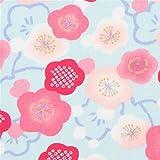 Hellblauer Kreppstoff mit pfirsichrosa Pflaumenblüten