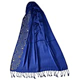 PSS Women's Soft Cotton Handcrafted Non-Removal Scarves (PSSSCARVES478, Dark Blue, Free Size)