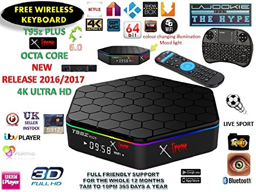 Android TV Boxes Rus UK Android Tv Box Fully loaded Jailbroken**NEW RELEASE** T95z PLUS X-treme 8X CPU Marshmellow 6.0 AMLOGIC S912 64BIT 5Ghz Wifi 4K UHD H.265 Kodi 16.1 / xbmc 1000m Lan Bluetooth smart tv box Comes with fr