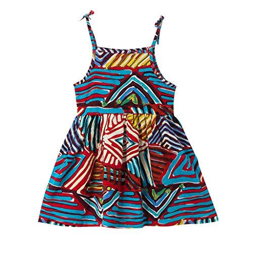 TPulling Kinder ärmelloses Print Prinzessin Rock Sling Strand Rock Tank Kleid Sommerkleid Kleid Sommerkleid Ärmelloses Prinzessinkleid