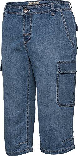 HENSON&HENSON Cargo-Capri-Jeans in Hell-Blau, 3/4 Hose für Herren, Stretch Jeans, Kurze Hose für den Sommer, Gr. 24 - 60