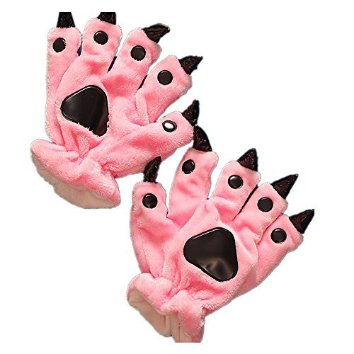 Qzerplay Unisex Paw Claw Winter Finger Gloves for Halloween Costume Pink S