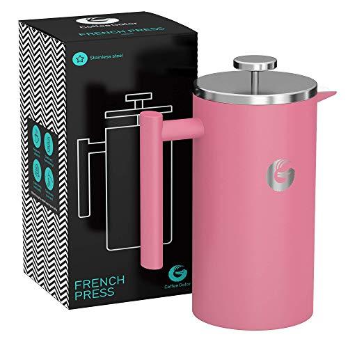 Coffee Gator French Press Kaffeemaschine - Heißer-für-länger Thermobrüher mit weniger Ablagerungen - Plus Behälter - Großes Fassungsvermögen, doppelwandig isoliert - Edelstahl - 1 Liter - Rosa