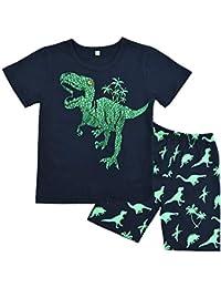 3d4ee5e610 Boys Pyjamas Set Dinosaur Print Kids Pjs Pajama Long Sleeve Cotton  Sleepewar Tops Shirts   Pants