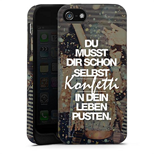 Apple iPhone SE Stand Up Hülle Case Cover mit Standfunktion Sprüche Party Leben Tough Case matt