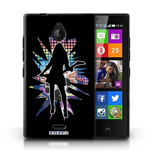 Kobalt® Imprimé Etui / Coque pour Nokia X2 Dual Sim / Atteindre Blanc conception / Série Rock Star Pose Rock Dame Noir