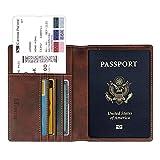 Fintie Reisepass Schutzhülle - Premium Kunstleder Reisepasshülle Halter mit RFID Blockier für Kreditkarten, Ausweis und Reisedokumente, Vintage Dunkelbraun