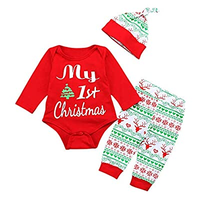 Decha Christmas Outfits Baby Boys Girls My First Christmas Rompers with Xmas Hat Clothes Set