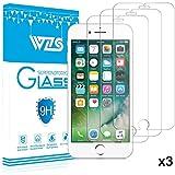 [3-Pack] Protector de Pantalla iPhone 8 Plus / 7 Plus / 6S Plus / 6 Plus, WZS® Cristal Vidrio Templado Premium Para Apple iPhone 8 Plus / 7 Plus / 7 Plus / 6S Plus / 6 Plus [9H Dureza][Alta Definicion 0.33mm] [3D Touch Compatibles]
