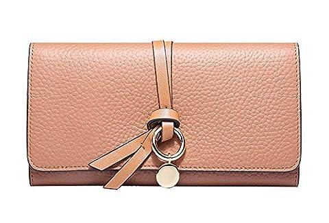 Xinmaoyuan Damen Portemonnaie Brieftasche Leder im Sommer lange Runde Schnalle Twist Geldbörse Lady Card Pack, Hellbraun