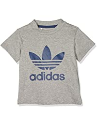 adidas Trefoil – Camiseta para niño, Niño, Trefoil, Medium Grey Heather/Night Sky, FR : 80 (Taille Fabricant : 80)