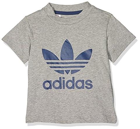 adidas Kinder Trefoil T-Shirt, Medium Grey Heather/Night Sky, 104 (Sky Heather)