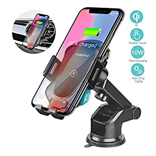 XuanPad Wireless Car Charger Mount Auto Clamping Car Phone Holder with 5W/ 7.5W/10W Qi Fast Charging for iPhone Xs/X/XR Samsung Galaxy Note 9/ S9/ S8/S8+Edge