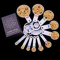 Nardo Visgo® 13 pezzi ispessito plastica ABS dosatore / Coppe Set - essenziali strumenti di misura per misura a secco ingredienti liquidi Bianco