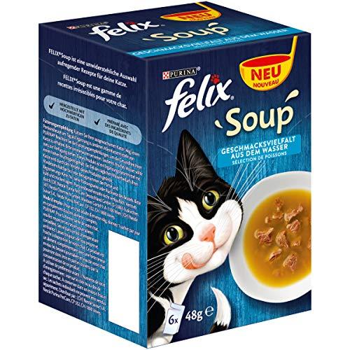 Felix Katzennassfutter Soup Geschmacksvielfalt aus dem Wasser mit Kabeljau, Thunfisch, Scholl, 8er Pack (6 x 48 g) Portionsbeutel