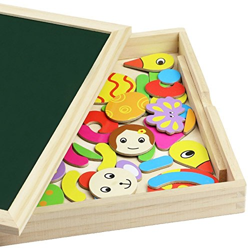 Magnetic Drawing Board Game Double Sided Blackboard Wooden Jigsaw Puzzle