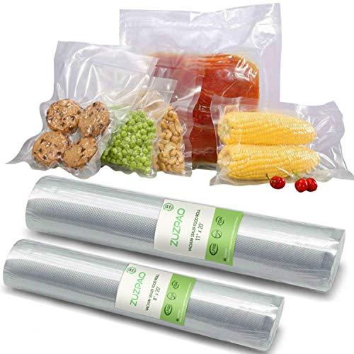 Zuzpao Bolsas de Vacio, 2 Rollos para sellar al vacío sin BPA, 28 cm x 6 m (11'× 20 ') y 20cm x 6 m (8' × 20') Bolsas de Alimentos Envasados con Certificación de la FDA, Sous Vide Cocina