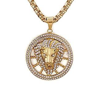 Daesar Pendant Necklaces for Men Stainless Steel Cubic Zirconia Necklace Mens Lion Head Gold Necklace
