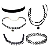 #9: Generic Black Lace Velvet Choker for Women - (Pack of 5)