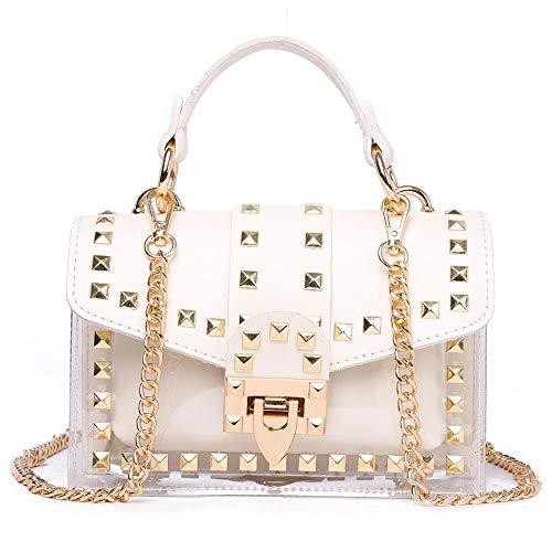 Frauen Transparente Umhängetasche pu-Beutel Handtasche Mode niet Tasche, Tragbare Crossbody Bag Mode Diagonal Pack Für Beach Shopping
