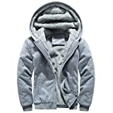 saymany Sportwear Herren Men's Hoodie Winter Warm Fleece Zipper Sweater Jacket Outwear Coat Tops Blusen Sportwear Daunenjacke Mantel