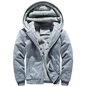 DOLDOA Mens Hoodie Winter Warm Fleece Zipper Owl Pattern Solid Fashion Jacket Outwear Coat Tops Blouses