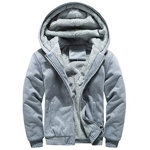 MRULIC Herren Hoodie Pullover Winter Warme Fleece Jacke Zipper Sweater Jacke Outwear Mantel RH-054 (EU-44/CN-L, Y3-Grau) -