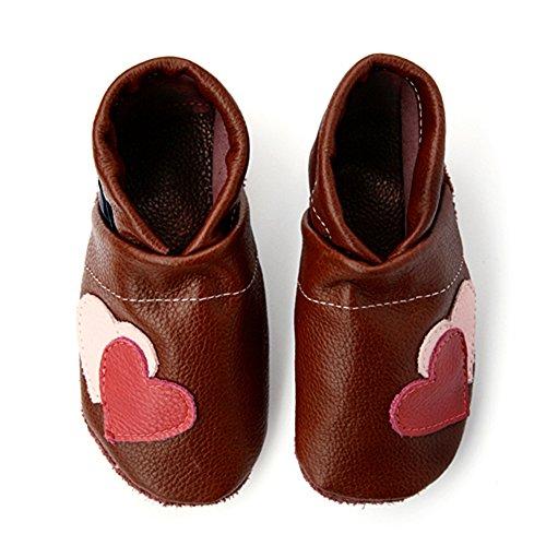 pantau.eu Leder Lauflernschuhe Krabbelschuhe Babyschuhe Lederpuschen mit Herzen BRAUN_MAGENTA_ROSA