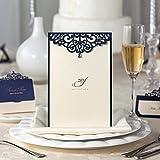 wishmade Navy Blau Laser geschnitten Hochzeit Einladungen Einladungskarten mit Strass Karte Lager für Engagement Party Geburtstag Baby Dusche Bridal Dusche Hochzeit Menü Karte cm502Gastgeschenken blau