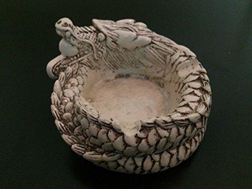 """Collectibles negro día de los muertos dragón cigarrillo cenicero figura decorativa de resina 3,5"""""""