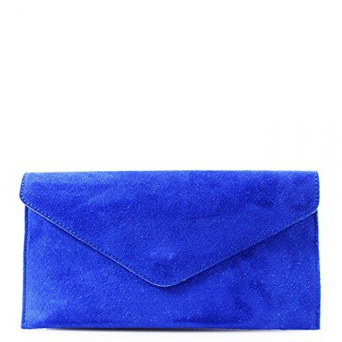 Clicktostyle - Cartera de mano de Ante para mujer plateado azul real