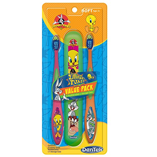 dentek-looney-tunes-toothbrush-with-holder-bugs-bunny-and-tweety-bird-2-count-by-dentek