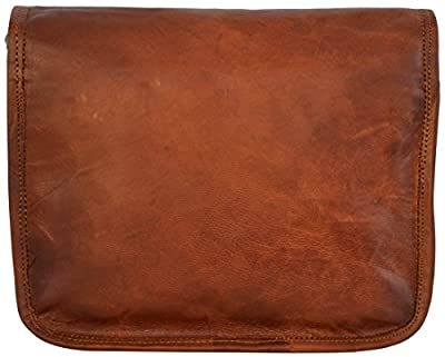 """Cartable en cuir - Gusti Cuir nature """"Emilia 7"""" sac à bandoulière vintage sac porté épaule rétro sacoche en cuir sac business homme femme cuir de chèvre marron H3"""
